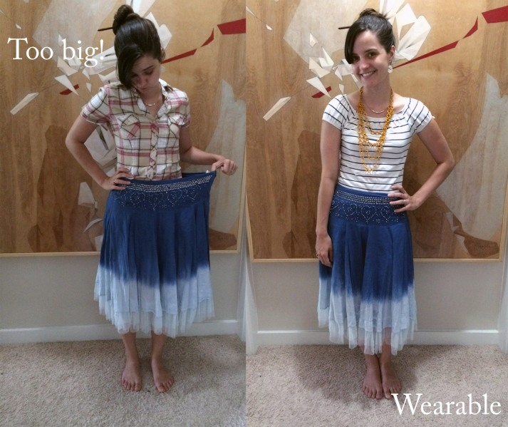 blue skirt before and after